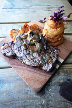 Grilled Ribeye + Oyster Mushrooms + Truffle Smashed Potatoes + Beer Battered Onion Rings